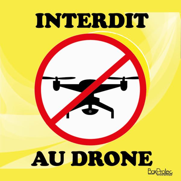 panneau attention pas de drone jaune boxprotec