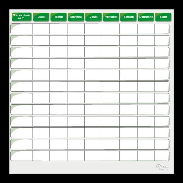 planning de semaine effaçable vert