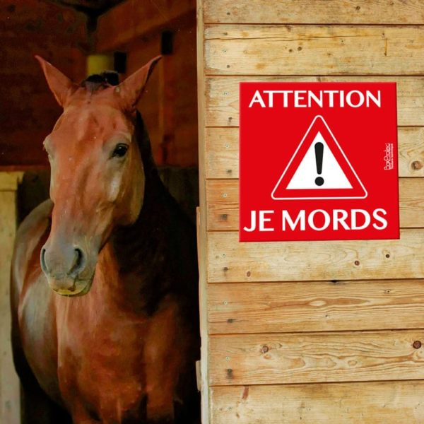 panneau attention je mords cheval