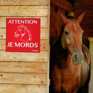 panneau attention je mords pour cheval