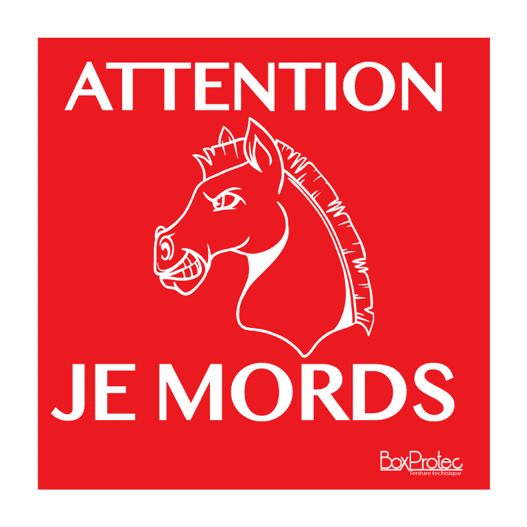 panneau attention je mords dessin cheval