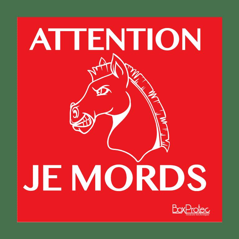 panneau attention je mords dessin cheval