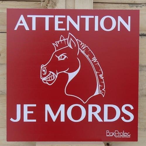 Panneau attention je mords cheval-0