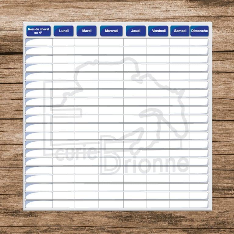 planning chevaux à personnaliser