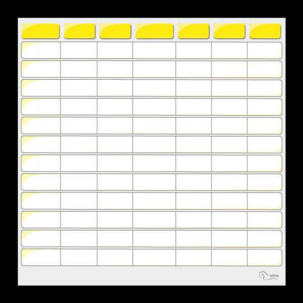 tableau effaçable pour planning vierge jaune