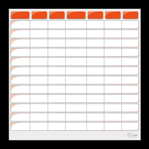 tableau effaçable pour planning vierge orange