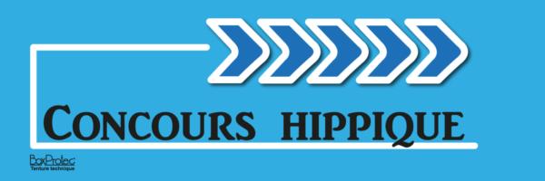 affiche flèche concours hippique bleu fléchage boxprotec