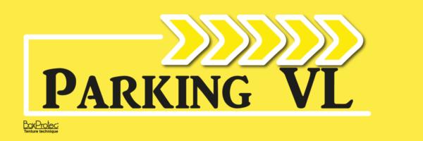 panneau publicitaire flèché parking véhicule léger jaune fléchage boxprotec