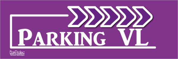 panneau signalétique d'écurie parking véhicule léger violet fléchage boxprotec