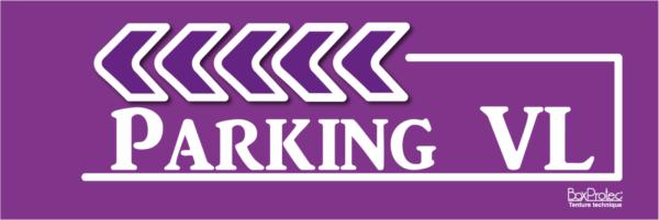panneau direction parking véhicule léger violet fléchage boxprotec