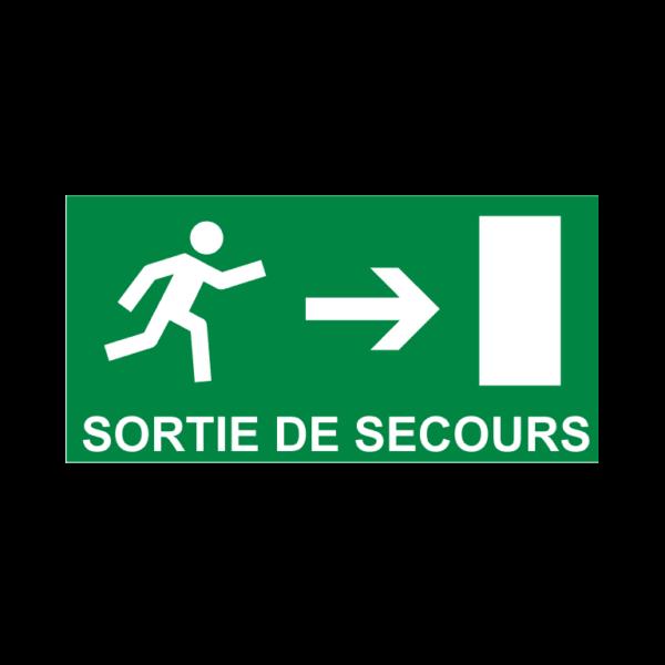 panneau sortie de secours vers la droite