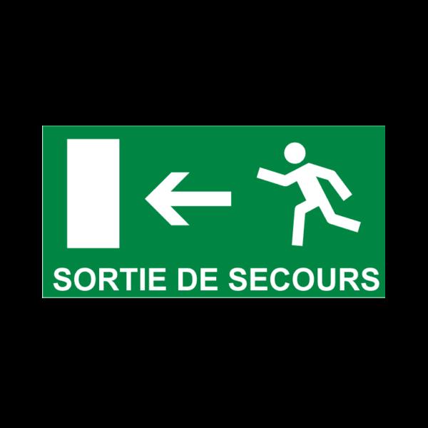 panneau sortie de secours vers la gauche