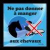panneau ne pas donner à manger aux chevaux bleu