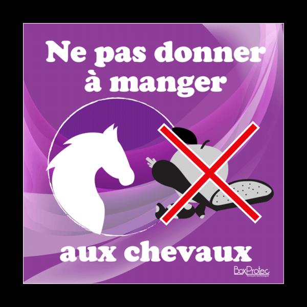 panneau ne pas donner à manger au cheval violet