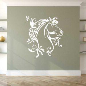 Stickers mural cheval design origami