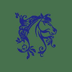 stickers mural cheval bleu décoration intérieur modèle 05