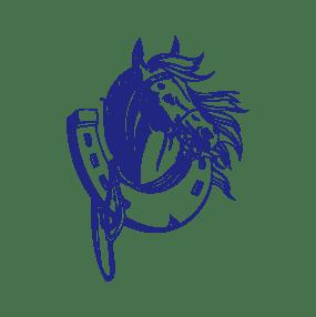stickers mural cheval bleu décoration intérieur modèle 10