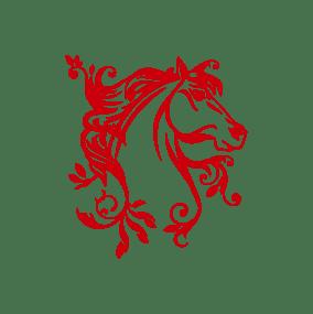 stickers mural cheval rouge décoration intérieur modèle 05