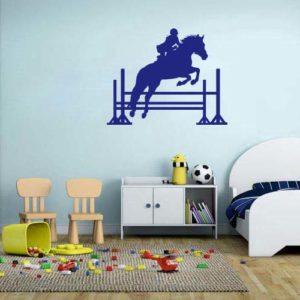 stickers mural cheval bleu décoration intérieur modèle 07