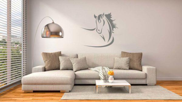 Stickers mural tête de cheval