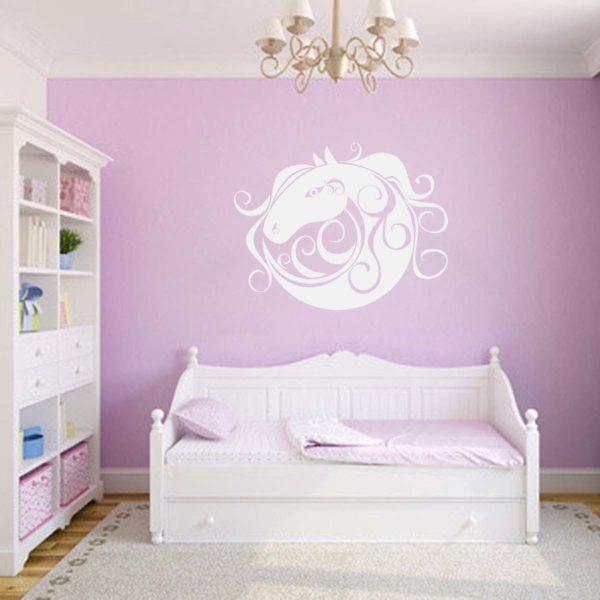 stickers mural cheval blanc décoration intérieur modèle 12