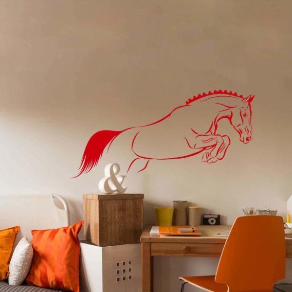 stickers décoration cheval orange