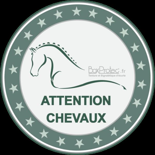 BOXPROTEC - panneau / autocollant / stickers / personnalisable / club / écurie / attention chevaux / cheval / transport / vert