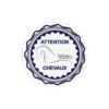 stickers rond attention chevaux bleu