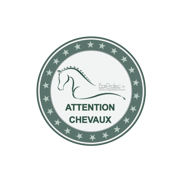 stickers rond attention chevaux gris