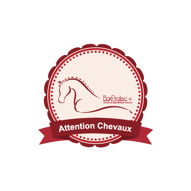 autocollant rond attention chevaux rouge