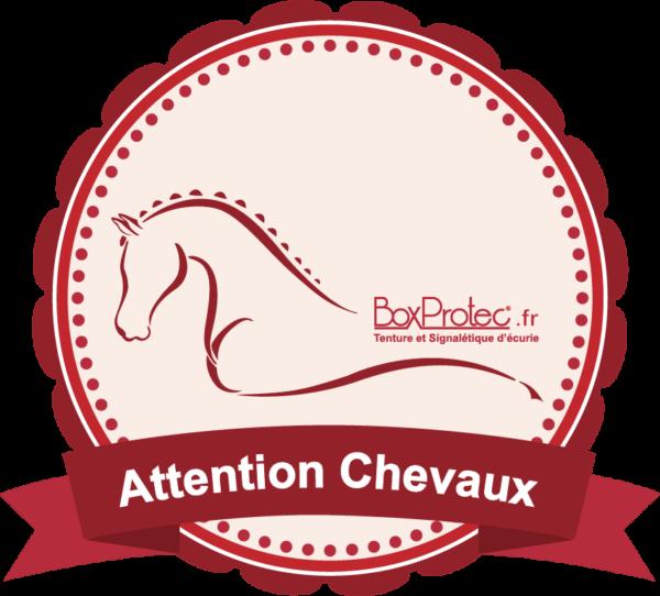 BOXPROTEC - panneau / autocollant / stickers / personnalisable / club / écurie / attention chevaux / cheval / rouge / transport