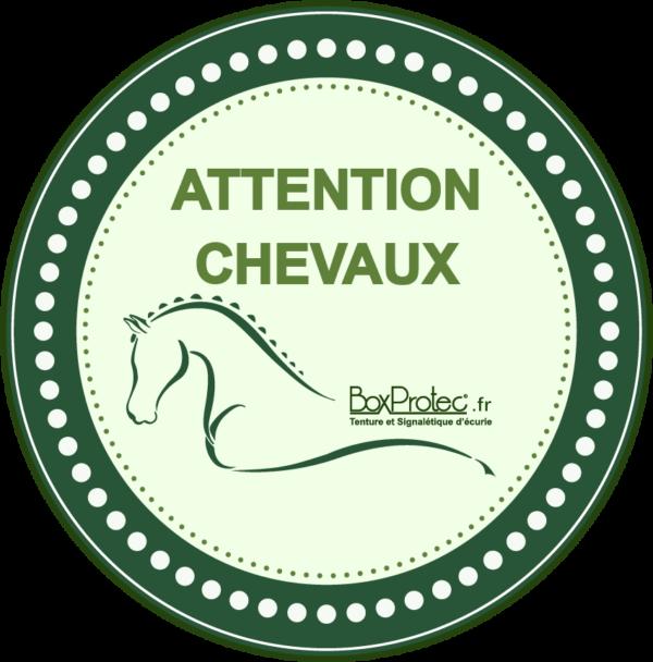 BOXPROTEC - panneau / autocollant / stickers / personnalisable / club / écurie / attention chevaux / cheval / transport / vert0