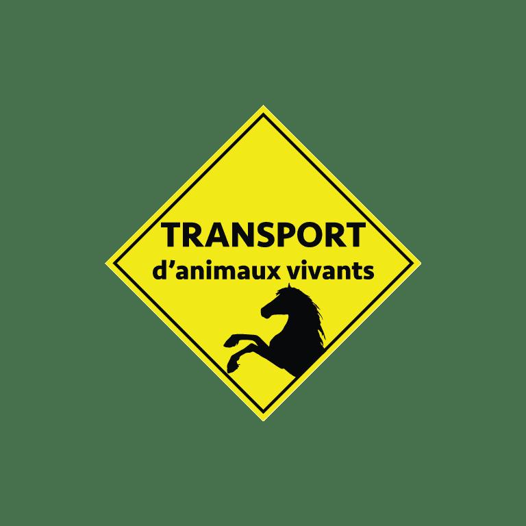 stickers losange jaune transport animaux vivants