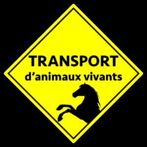 BOXPROTEC - panneau / autocollant / stickers / personnalisable / club / écurie / attention chevaux / cheval / transport / animaux vivants / jaune et noir