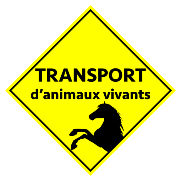 BOXPROTEC - panneau / autocollant / stickers / personnalisable / club / écurie / attention chevaux / cheval / transport / animaux vivants / jaune et noir