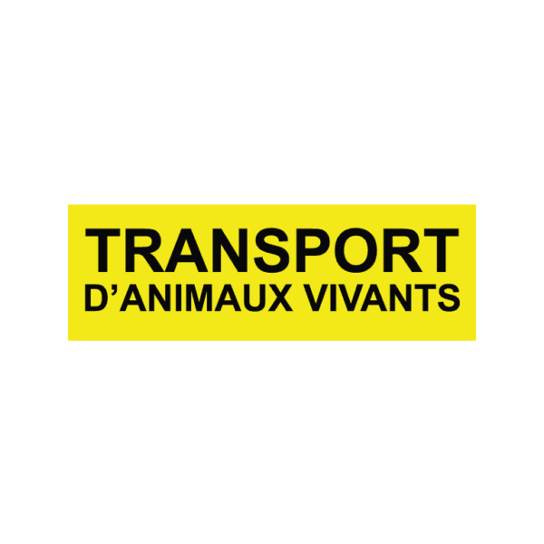 autocollant transport d'animaux vivants jaune et noir