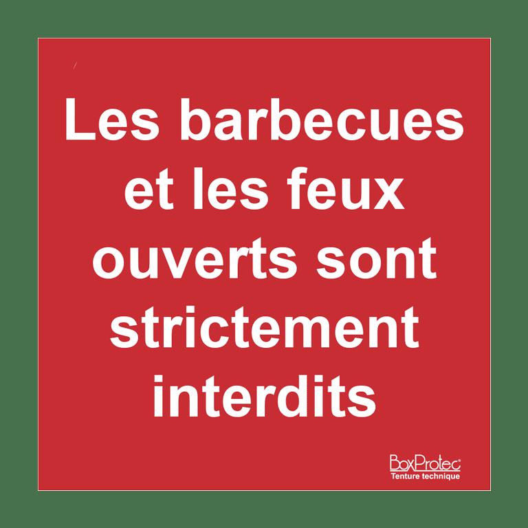 panneau barbecue et feu interdit