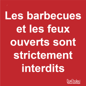 BOXPROTEC - panneau / autocollant / stickers / attention / barbecues / feux ouverts interdits / interdiction /