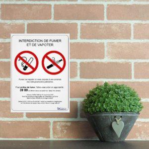panneau interdit de fumer et vapoter légal