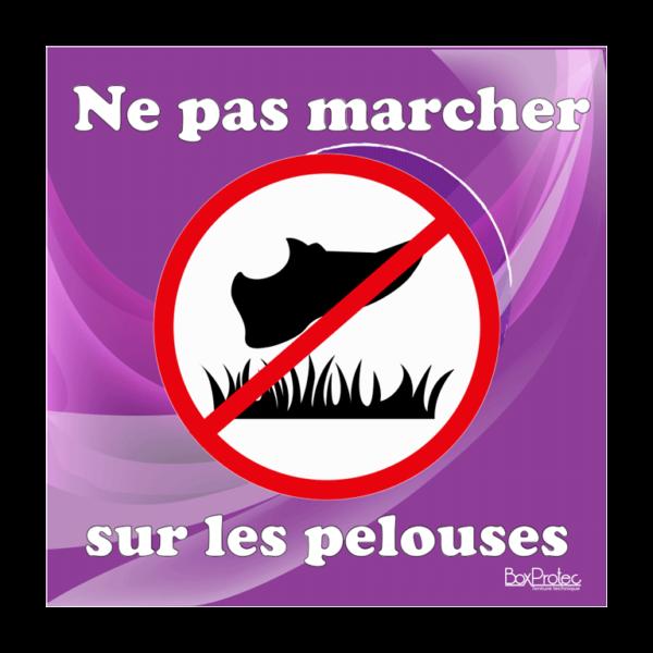 panneau interdit de marché sur les pelouses violet