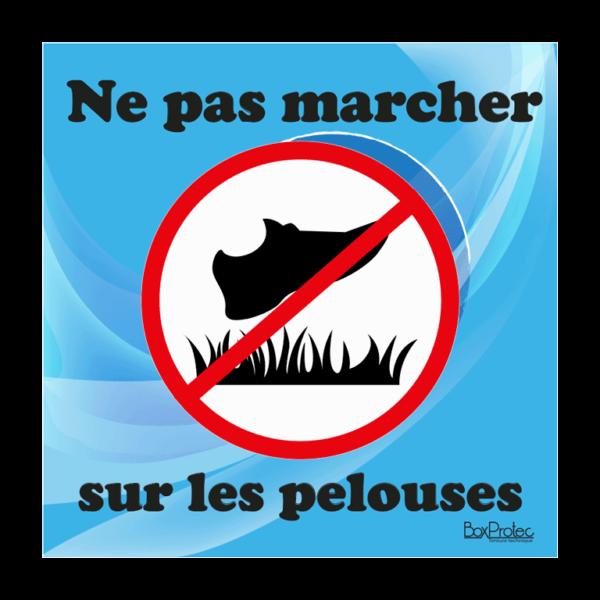 panneau interdit de marché sur les pelouses bleu