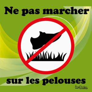 BOXPROTEC - panneau / autocollant / stickers / ne pas marcher sur les pelouses / interdit de marcher dans l'herbe / écuries / club / mairie / propriété / interdiction / fond vert