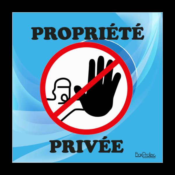 panneau accès interdit propriété privée bleu