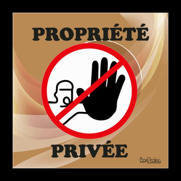 panneau accès interdit propriété privée marron