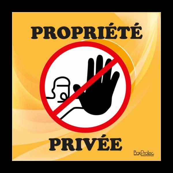 panneau accès interdit propriété privée orange