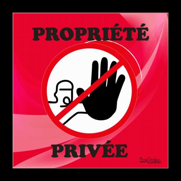 panneau accès interdit propriété privée rouge
