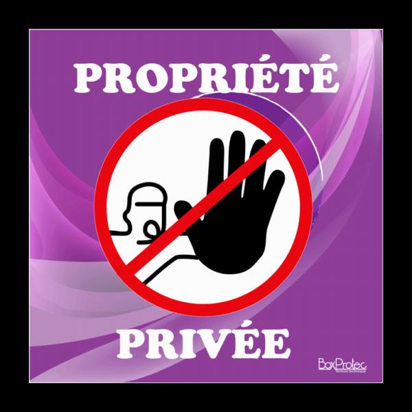panneau accès interdit propriété privée violet