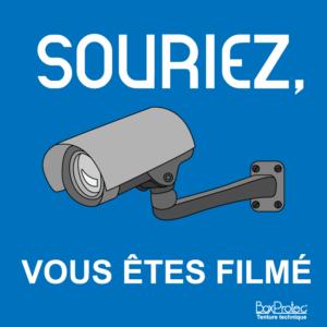 affichage vous êtes filmé illustré caméra de surveillance mairie, camping, parc