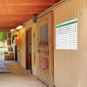 BOXPROTEC - panneau / planning / planning ou plaque d'écurie / planning concours / nom + prénom cavalier / nom cheval / heure / reco / paddock / piste / numéro / personnalisable