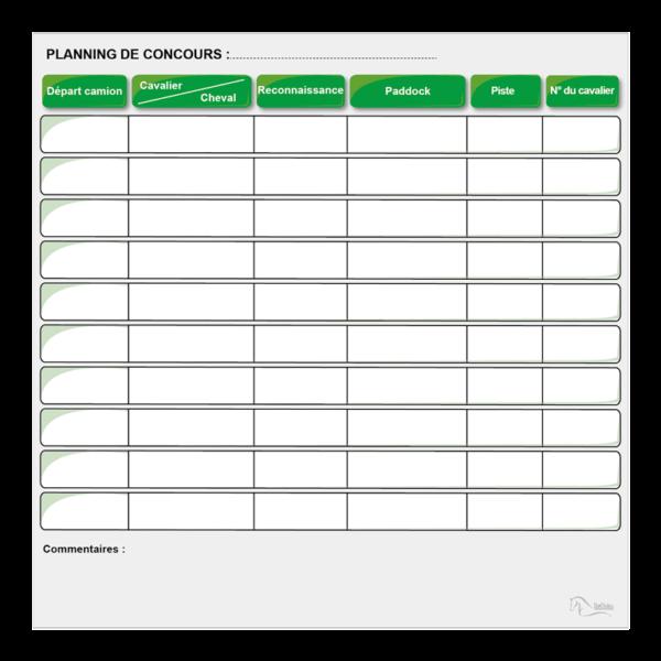 planning effaçable de concours équestre vert